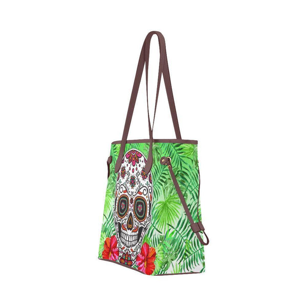 Sleek Water Resistant Canvas Tote bags Sugar Skull #7 (4 colors)-NeatFind.net
