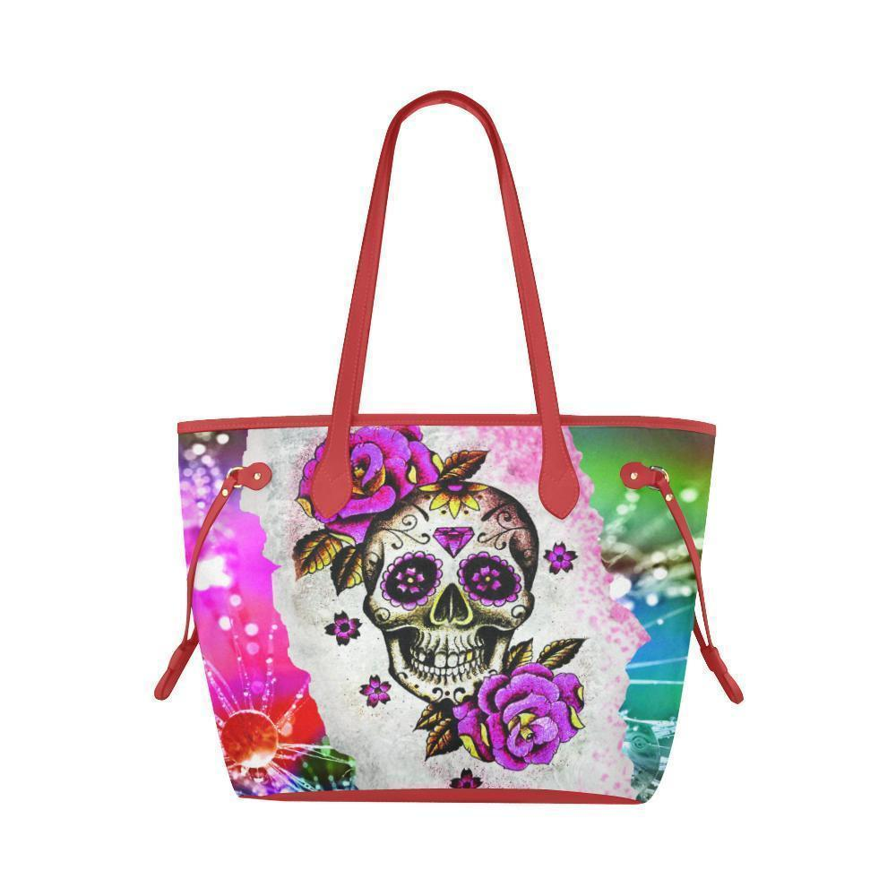Sleek Water Resistant Canvas Tote bags Sugar Skull #9 (4 colors)-NeatFind.net