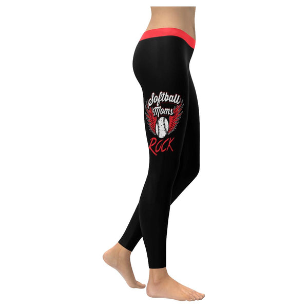 Softball Moms Rock Angel Wings Funny Cute Gift Ideas UPF40+ Soft Womens Leggings-NeatFind.net