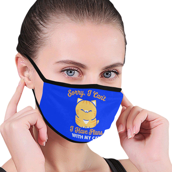Sorry I Cant I Have Plans With My Cat Funny Washable Reusable Cloth Face Mask-Face Mask-NeatFind.net