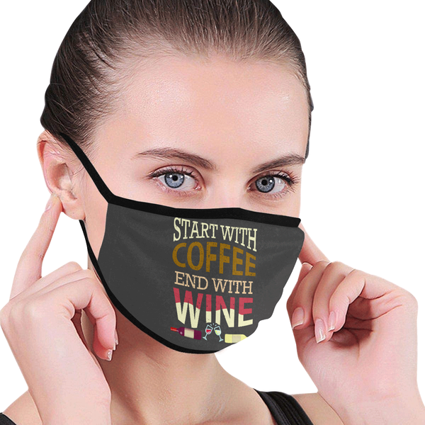 Start With Coffee End With Wine Washable Reusable Cloth Face Mask With Filter-NeatFind.net