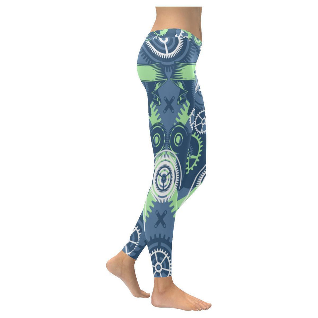 Steampunk Aqua Print Low Rise Leggings For Women-NeatFind.net