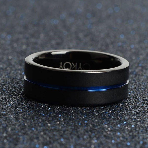 Stylish Thin Blue Line 8mm Black Tungsten Carbide Ring For Men-NeatFind.net