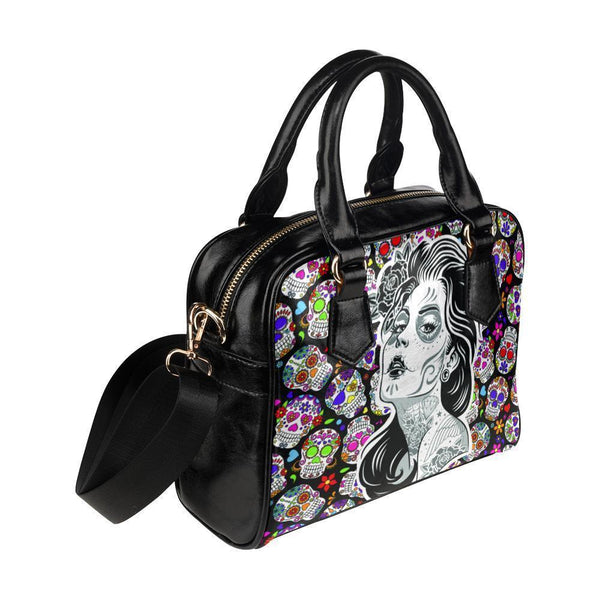 Sugar Skull #5 Shoulder Handbag For Women-NeatFind.net