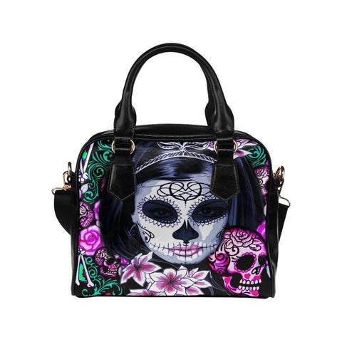 Sugar Skull #8 Shoulder Handbag For Women-NeatFind.net