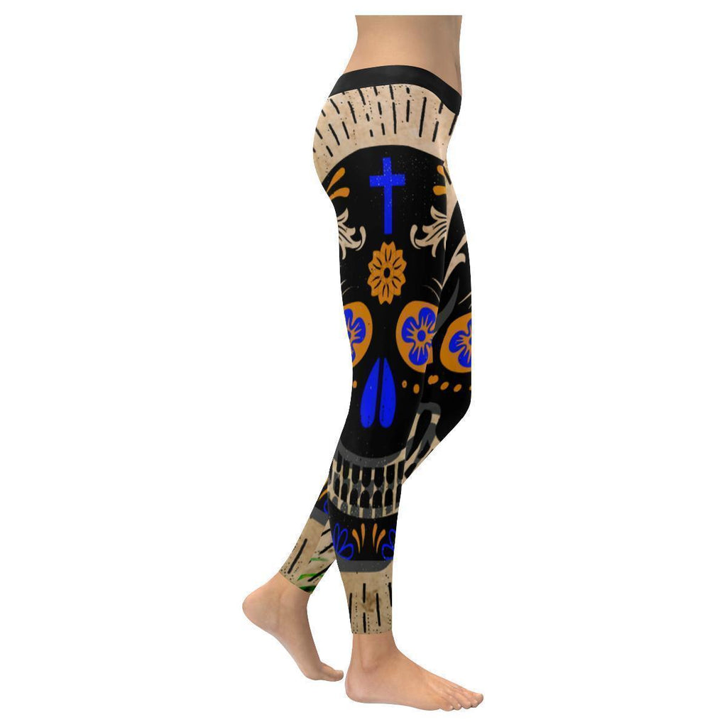 Sugar Skull Dia De Los Muertos Soft UPF40+ Non See Through Womens Leggings-NeatFind.net