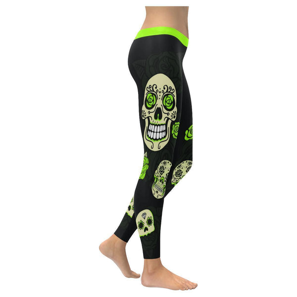 Sugar Skull Lime Green Roses Soft UPF40+ Non See Through Womens Leggings-NeatFind.net
