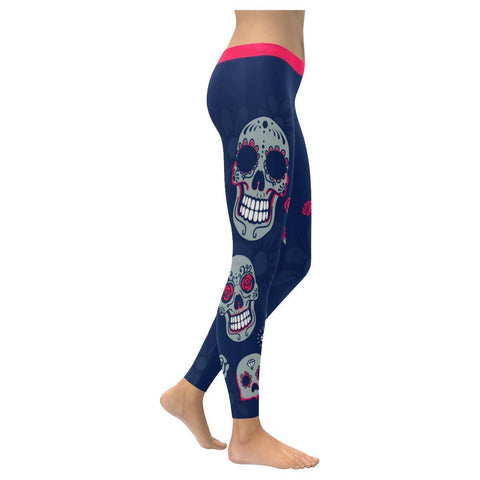 Sugar Skull Pink Roses Diamond Soft UPF40+ Non See Through Womens Leggings-NeatFind.net