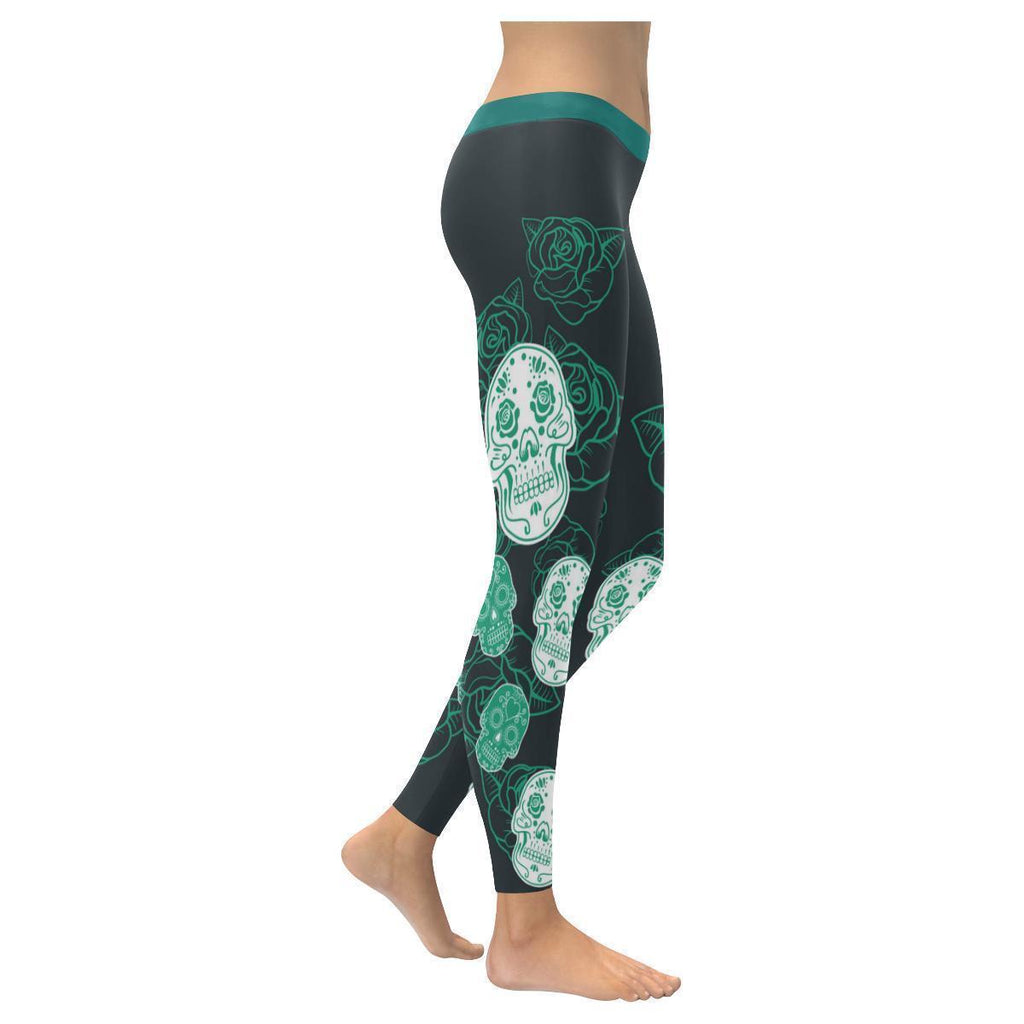 Sugar Skull Teal Roses Soft UPF40+ Non See Through Womens Leggings-NeatFind.net