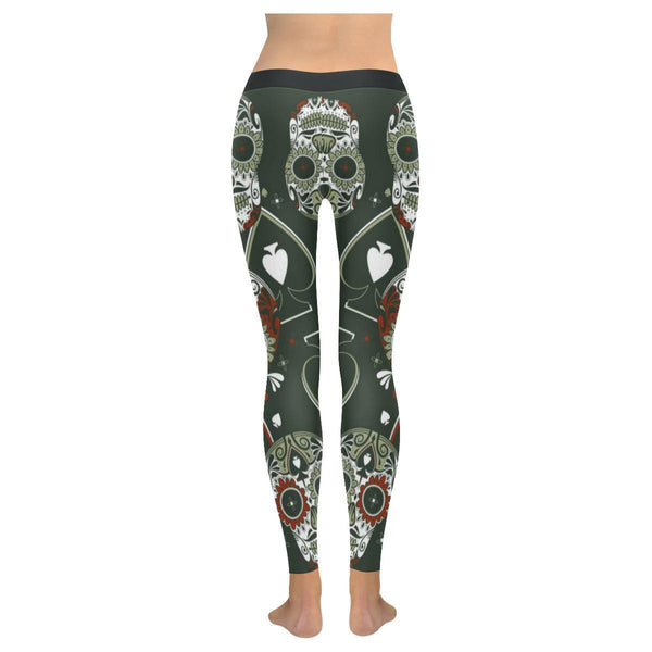 Sugar Skull Trippy Spades Soft UPF40 Non See Through Womens Leggings-NeatFind.net