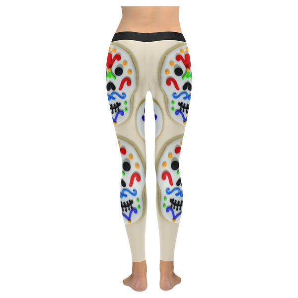 Sweet Cute Sugar Skull Confection Soft UPF40+ Non See Through Womens Leggings-NeatFind.net
