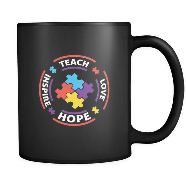 Teach Love Hope Inspire Autism Awareness Black 11oz Coffee Mug-NeatFind.net