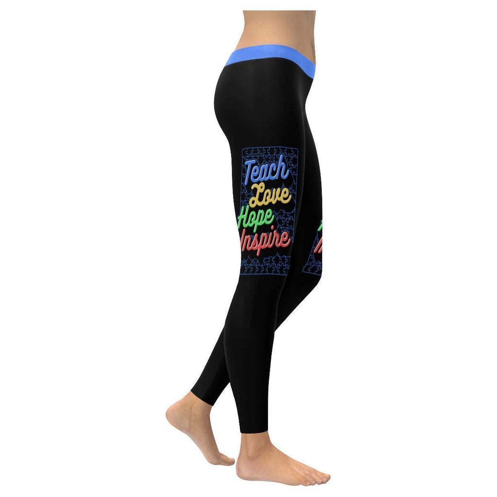 Teach Love Hope Inspire Autism Awareness Gift Special Need Teacher Women Legging-NeatFind.net