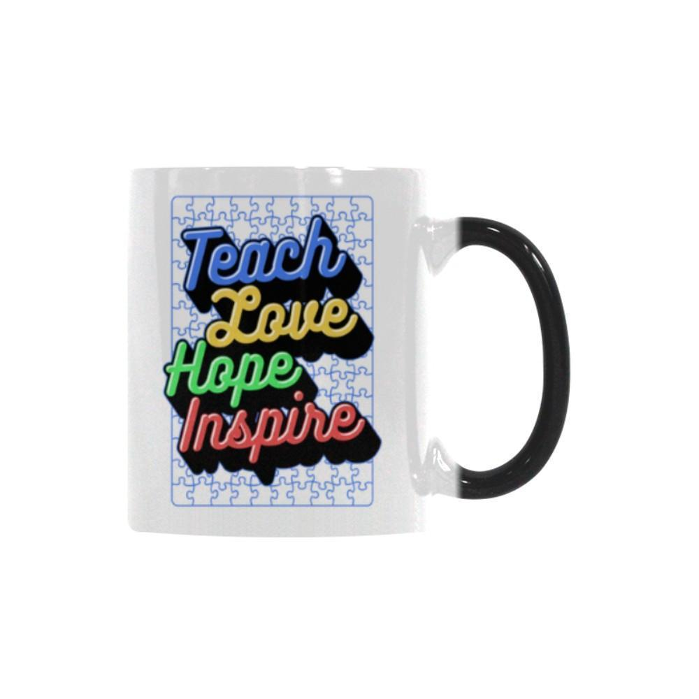 Teach Love Hope Inspire Autism Awareness V2 Color Changing/Morphing 11oz Coffee Mug-NeatFind.net