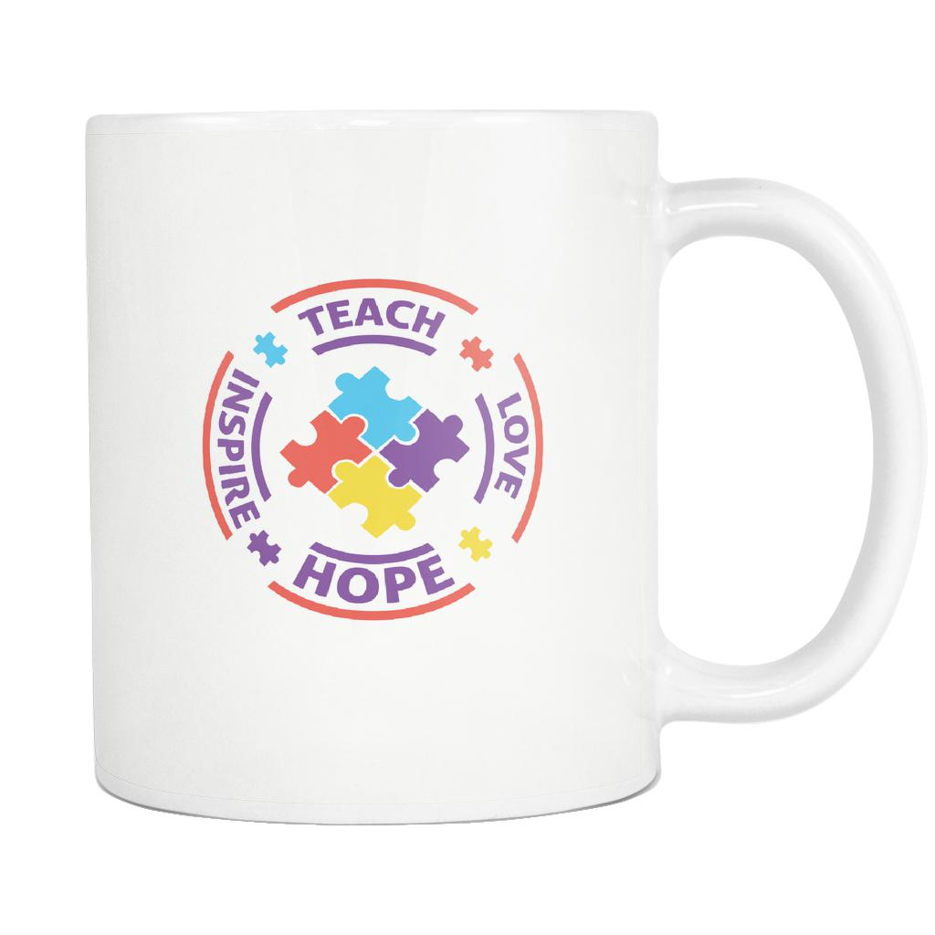 Teach Love Hope Inspire Autism Awareness White 11oz Coffee Mug-NeatFind.net