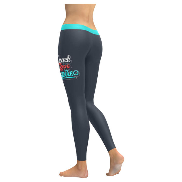 Teach Love Inspire Funny Teacher Appreciation Week Day Gift Idea Womens Leggings-NeatFind.net