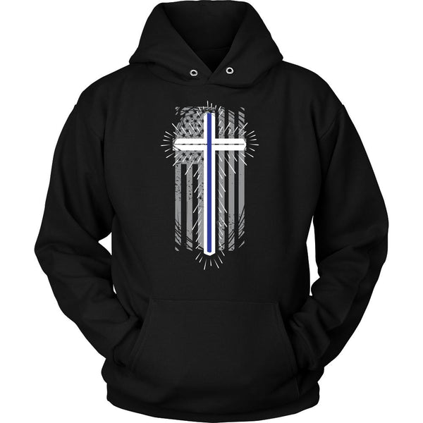 Thin Blue Line Cross USA Flag Thin Blue Line Blue Lives Matter T-Shirt/Long Sleeve/Crewneck Sweatshirt/Hoodie For Men & Women-NeatFind.net