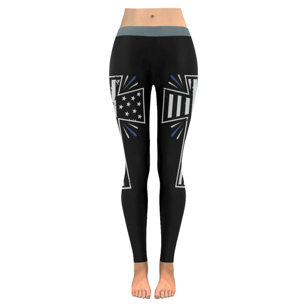 Thin Blue Line Patriotic Shining Cross USA Flag Soft UPF40+ Womens Leggings-NeatFind.net