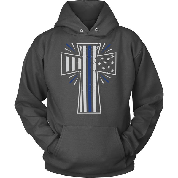 Thin Blue Line Shining USA Flag Cross Thin Blue Line Blue Lives Matter T-Shirt/Long Sleeve/Crewneck Sweatshirt/Hoodie For Men & Women-NeatFind.net
