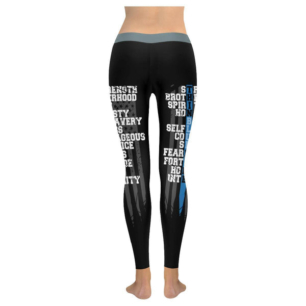 Thin Blue Line Strength Selfless Courage Honor Integrity UPF40+ Womens Leggings-NeatFind.net