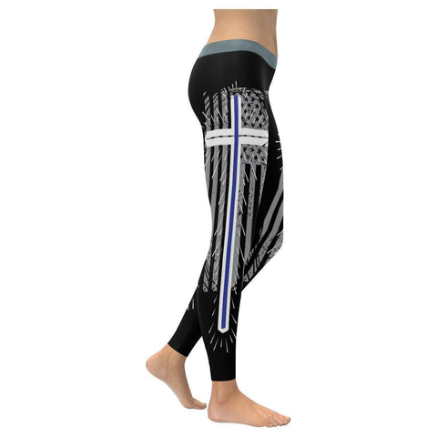 Thin Blue Line USA Patriotic Christian Jesus Cross UPF40+ Womens Leggings-NeatFind.net