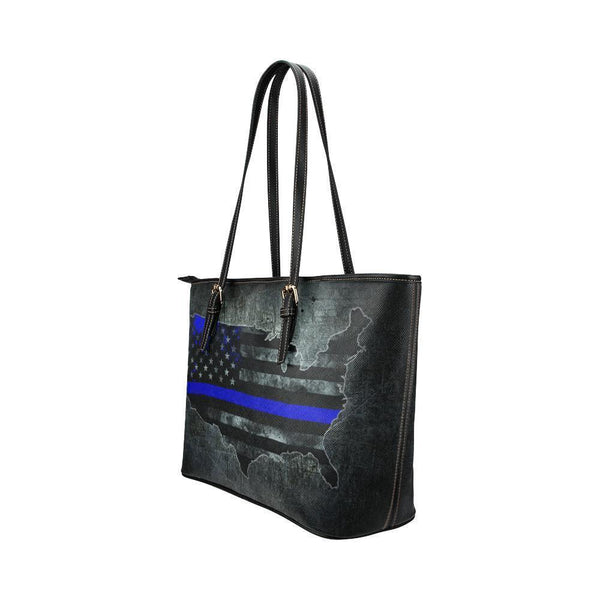 Thin Blue Line Water Resistant Small Leather Tote Bags (5 colors)-NeatFind.net