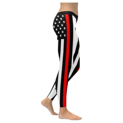 Thin Red Line USA Patriotic Firefighter UPF40+ Non See Through Womens Leggings-NeatFind.net