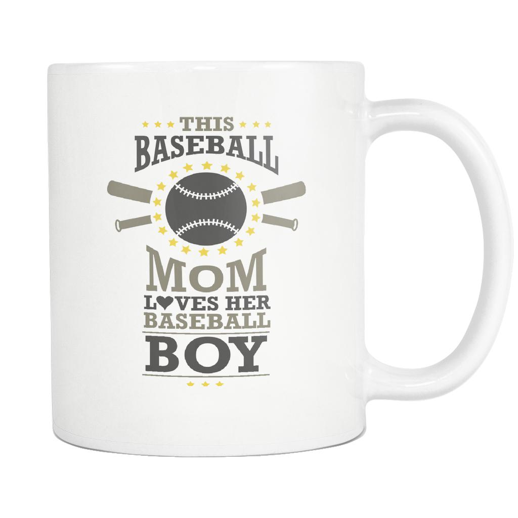 This Baseball Mom Loves Her Baseball Boy Funny Unique Cool Awesome Baseball White 11oz Coffee Mug-NeatFind.net