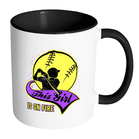 This Girl Is On Fire Softball 11oz Accent Coffee Mug(7 Colors)-NeatFind.net