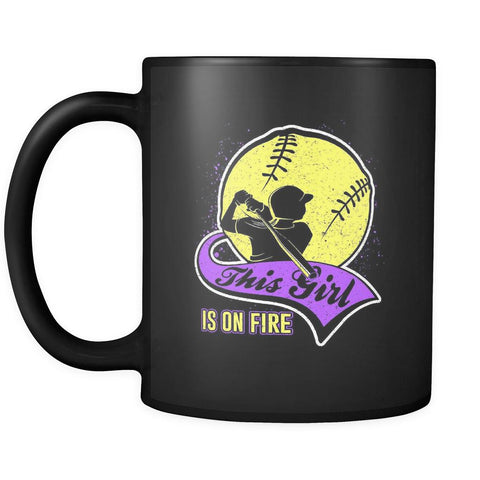 This Girl Is On Fire Softball Black 11oz Coffee Mug-NeatFind.net