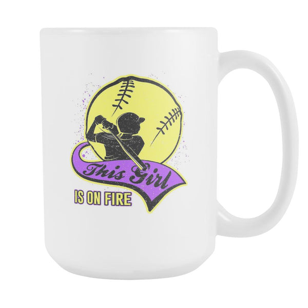 This Girl Is On Fire Softball White 15oz Coffee Mug-NeatFind.net