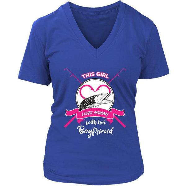 This Girl Loves Fishing With Her Boyfriend Pink Fishing Pole Gift VNeck TShirt-NeatFind.net