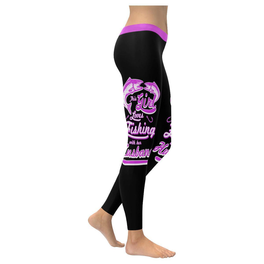 This Girl Loves Fishing With Her Husband Low Rise Leggings For Women (3 colors)-NeatFind.net