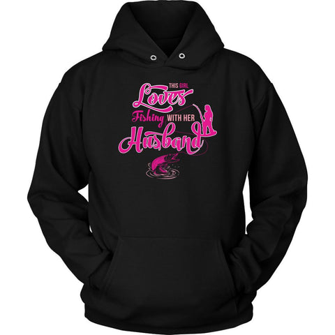 This Girl Loves Fishing With Her Husband Pink Fishing Pole Cute Gift Hoodies-NeatFind.net