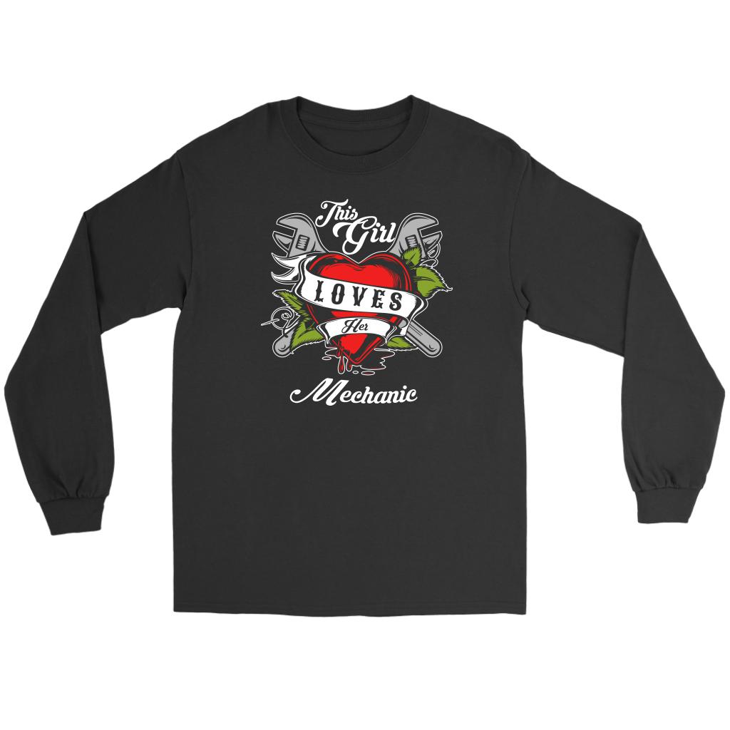 This Girl Loves Her Mechanic Funny Auto Gift Long Sleeve TShirt-NeatFind.net