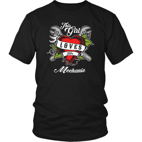 This Girl Loves Her Mechanic Funny Auto Gift Unisex TShirt-NeatFind.net