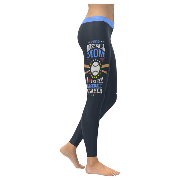 This Mom Loves Her Baseball Player Funny Unique Cool Gift Ideas Womens Leggings-NeatFind.net