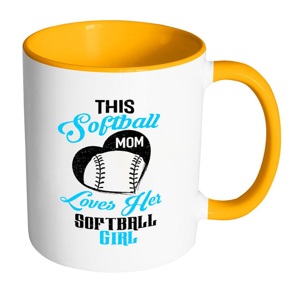This Softball Mom Loves Her Softball 11oz Accent Coffee Mug(7 Colors)-NeatFind.net
