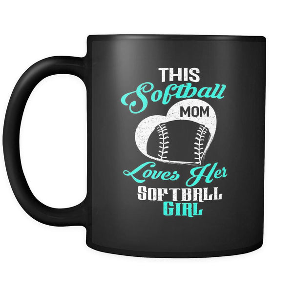 This Softball Mom Loves Her Softball Black 11oz Coffee Mug-NeatFind.net
