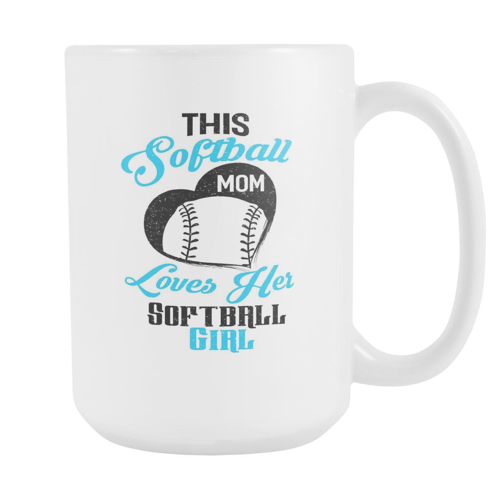 This Softball Mom Loves Her Softball White 15oz Coffee Mug-NeatFind.net