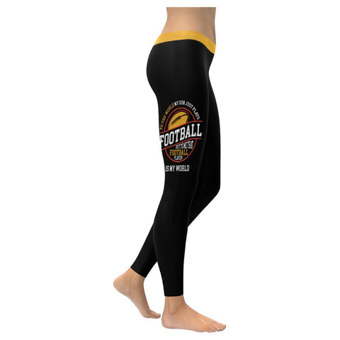 To The World My Son Just Plays Football Player Is My World Gift Womens Leggings-NeatFind.net