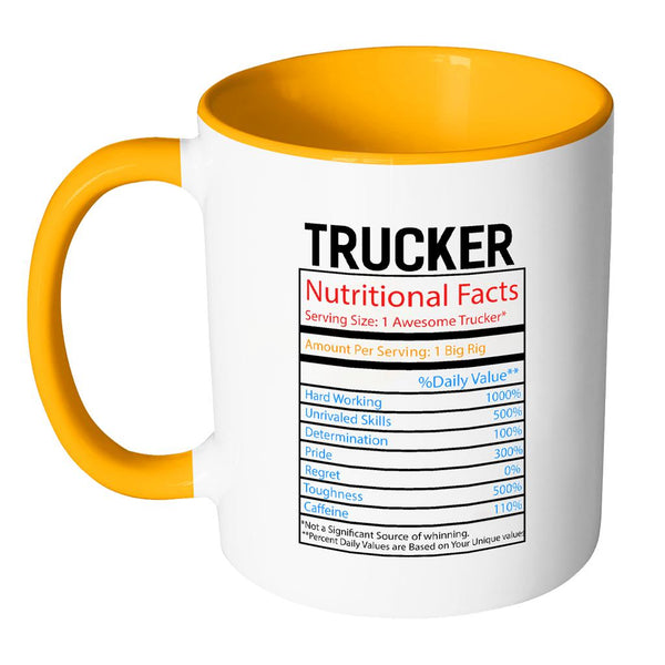 Trucker Nutritional Facts Practical Funny Gifts For Truck Driver 7Colors Mug-NeatFind.net