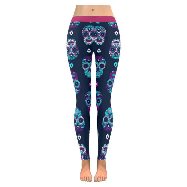 Turquoise Sugar Skull Pink Waistband Soft UPF40+ Non See Through Womens Leggings-NeatFind.net