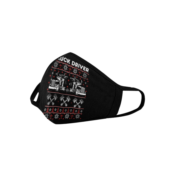 Ugly Christmas Truck Driver Washable Reusable Cloth Face Mask With Filter Pocket-Face Mask-NeatFind.net