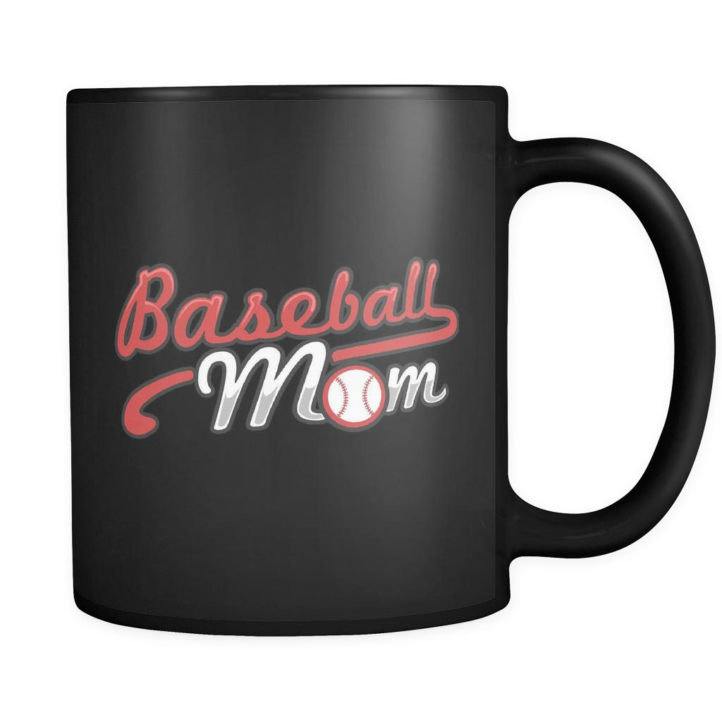Unique Classic Baseball Mom Funny Unique Cool Awesome Baseball Black 11oz Coffee Mug-NeatFind.net
