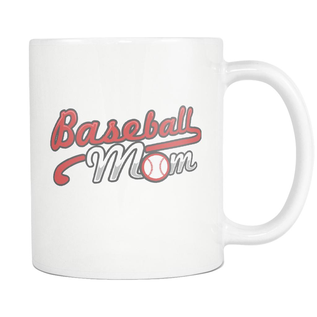 Unique Classic Baseball Mom Funny Unique Cool Awesome Baseball White 11oz Coffee Mug-NeatFind.net