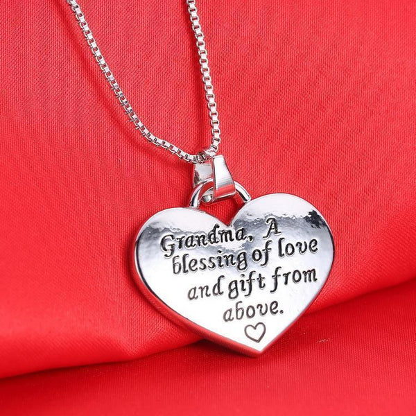 Unique Engraved Heart Shape Grandma, A Blessing Of Love And Gift From Above Necklace & Pendant-NeatFind.net