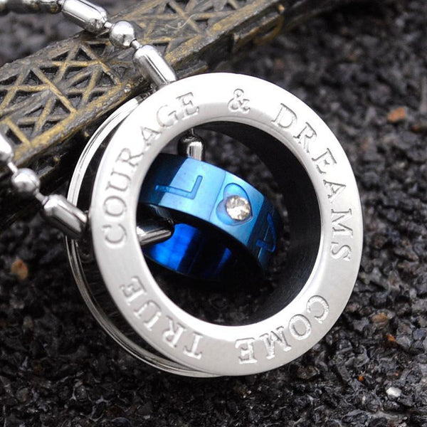 Unique Thin Blue Line Circular Men Text Wheel Blue Stainless Steel With Rhinestones Crystals Pendant & Necklace-NeatFind.net