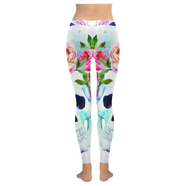 Vibrant Watercolor Floral Sugar Skull Soft UPF40 Non See Through Womens Leggings-NeatFind.net