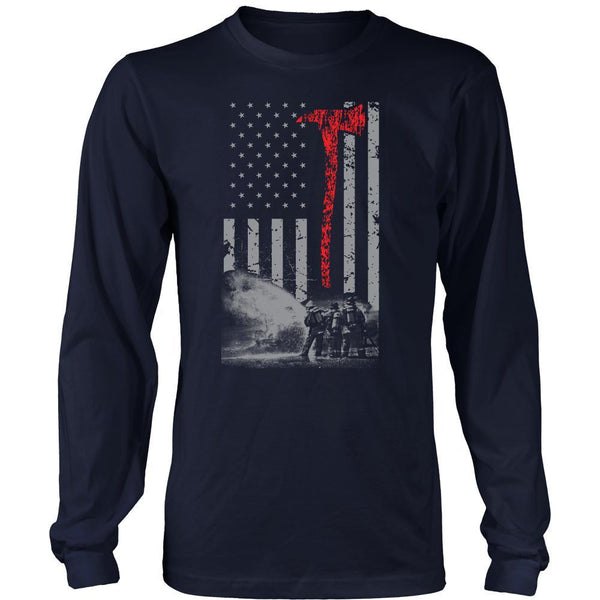 Vintage Firefighter Red Axe Flag T-Shirt/Long Sleeve/Hoodie-NeatFind.net